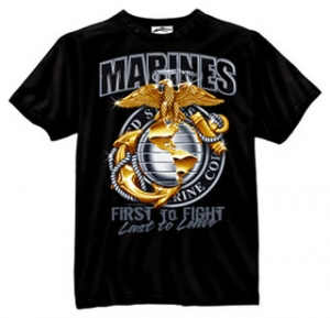 Black Ink Design Printed T-Shirt - Black / Marines First To Fight Globe & Anchor # 80280